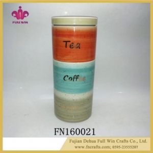 China Ceramic Canister and Jars Kitchen Food Canister with Lid Tea Coffee Sugar Canister on sale