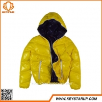 Glossy Yellow Girls Jacket Thick Warm Coat Short Women Outerwear OEM For Brand Series