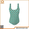 China OEM Brand Girl Removable Bra One Piece Bikini Apple Green Young Style Swimwear Cute Swimsuit for sale