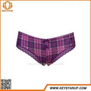 China High Quality Lattice Printed Women Panties Cotton Underwear Women Elegant Panties with Lace on sale