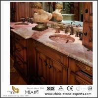Prefab Natural Red Coral Marble Countertops for Kitchen and Bathroom Design