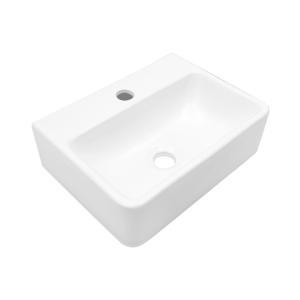 Quality New Bathroom basins Units Glass Large Rectangular Porcelain Vessel Sink Above Counter White Countert for sale