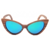 China zebra wood frame wooden sunglasses womens green revo mirror coating lens private label mens for sale
