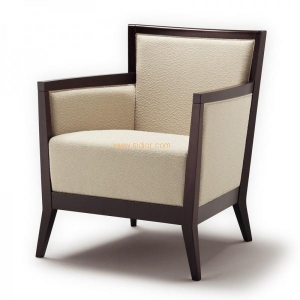 China Dark Solid Wood Frame Beige Fabric Restaurant Lounge Arm Chair on sale