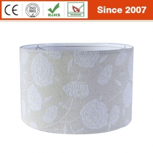 China High Quality Cream Color Modified Drum Linen Fabric Flocking Hardback Lamp Shade on sale