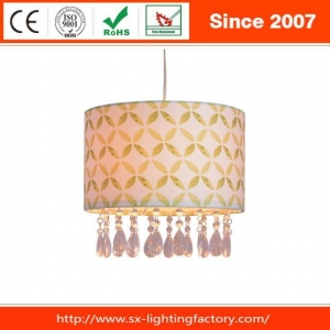 China Cylinder Round Linen Fabric Clear Acrylic Beads Indoor Hanging Lamp Shade on sale