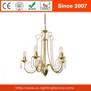 China Popular Hot Polish Brass Metal Acrylic Decoration Chandelier Lamp on sale