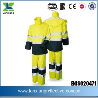 China 300D Oxford Orange Workplace Safety High Quanlity Reflective Tape Logo Waterproof Raincoat on sale