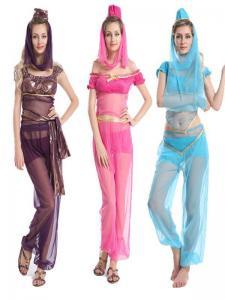 China Princess Jasmine Genie Belly Dancer Arabian Nights Fancy Dress Costume on sale