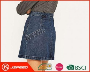 China OEM Ladies Mid Waist Denim Skirts with Stud Embellished Pockets Are Welcome for Woman on sale