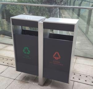 China Arlau BS32 Urban Furniture SupplierHot Sell Outdoor Waste BinMetal Recycling Bin on sale