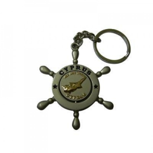 China Two Tone Plating Rotatable Coin Metal Keychain on sale