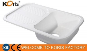China Koris Modern Polished Acrylic Resin Vanity Top Sink with Single Hole for Commercial Restaurant on sale