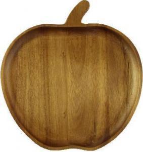 China Custom Tableware Apple Shape Fruit Dish Tray Acacia Candy Plate on sale