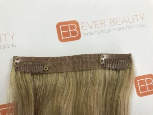China Curly Double Drawn Ombre Grey Remy Clip in Weft on sale