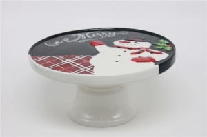 China Embossed with Snowman Christmas-themed Ceramic Cake Stands on sale