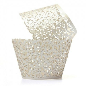 China Pixnor 50pcs Cupcake Wrappers Wraps Cases Wedding Birthday Decorations Golden on sale