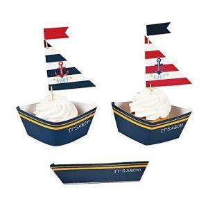 China Nautical Baby Boy Shower Cupcake Collars and Picks Decoration Set - 50 units on sale