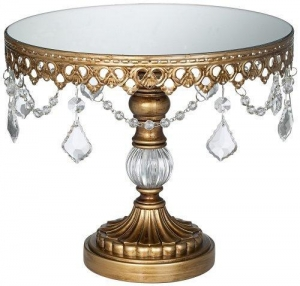 China Antique Gold Crystal Beaded Mirror-Top 10 Round Cake Stand on sale