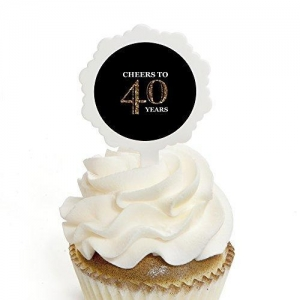 China Adult 40th Birthday - Gold - Cupcake Picks with Stickers - Birthday Party Cupcake Toppers - 12 Count on sale