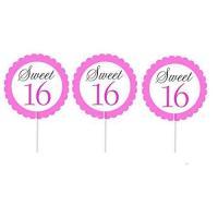 Cakesupplyshop Item# 998uj- 12pack Sweet 16 Cupcake Toppers Decoration Picks