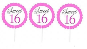 China Cakesupplyshop Item# 998uj- 12pack Sweet 16 Cupcake Toppers Decoration Picks on sale