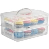 China VonShef Snap and Stack Cupcake Storage Carrier 2 Tier - Store up to 24 Cupcakes or 2 Large Cakes for sale