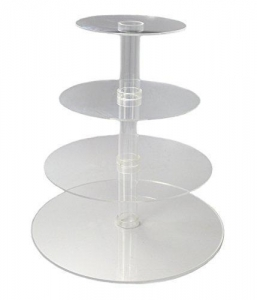 China Utenlid 4-Tier Stacked Party Cupcake and Dessert Tower - Clear Acrylic Cake Stand on sale