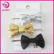 China 3pcs Set Metal Hair Clip Bobby Pin With Sequin Bow For Lady on sale