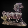 China Fluorite Crystal Gemstone Engraving Hand Carved Fun Horse Gifts for sale