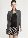 Fall Winter Ladies Cotton Novelty Stitch Knitted Long Sleeve Cardigan Waistcoat with Belt