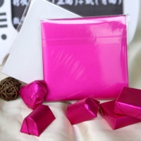 China Aluminum Foil Wrapped Chocolate Bars With Fushia Color Pre-cut In 4x4 In on sale