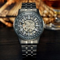 fashion case display bands stainless steel hand boy watch