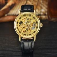 2017 gold skeleton automatic mechanical men wrist watch
