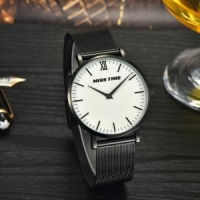 japan movt stainless steel case back mesh band quartz watch