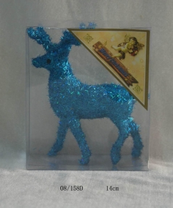 China Blue Foam Tinsel Deco. Christmas Deer Hanging Ornament on sale