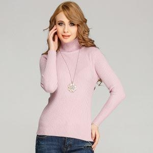 China OEM Turtle Nekc Sweater Ribbed Anti-pilling Viscose Nylon Knitted Pullover Autumn Winter on sale