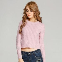 Pure Cashmere Round Neck Sweater High Quality Classic Cable Patterned OEM