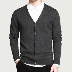 China Formal Cotton V Neck Cardigan High Quality Soft Handfeel Knitwear Men on sale