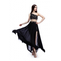 Women New Sexy Fashion Black Chiffon Maxi Dress Wholesale Simple Long Dress