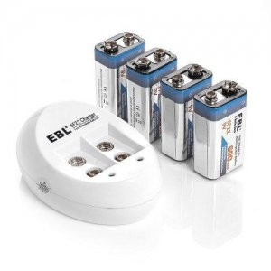 China EBL 840 9V Battery Charger with 4 Pack 600mAh Li-ion Rechargeable 9 Volt Batteries on sale