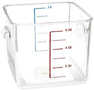 China Rubbermaid Commercial Carb-X Space Saving Square Food Storage Container, 6-Quart, Clear, FG630600CLR on sale