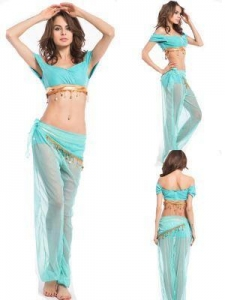 China Blue Princess Jasmine Genie Belly Dancer Arabian Nights Fancy Dress Costume on sale