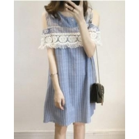 Pregnant woman Korean style maternity clothing stripe dress