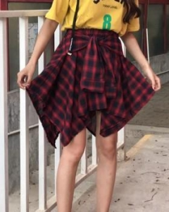 China Plaid irregular culottes Korean style skirt for women on sale