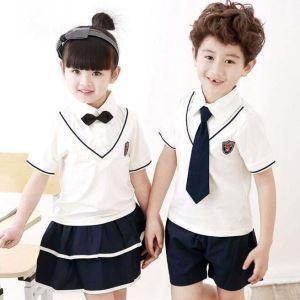 China Bulk Kids Primary School Uniforms Manufacturers Design White Color With Tie on sale