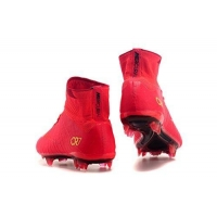 2016 New Style Mens Mercurial X Superfly V CR Obra FG Red Hi Top Football Shoes Soccer Boots