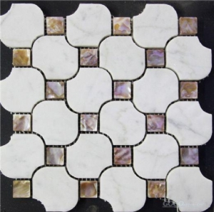 China artistic mesh mixed resin shell floor tile on sale