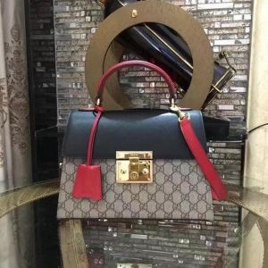 China Gucci Padlock Gucci Signature Top Handle Bag 453188 Black&Red on sale