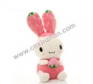 China Valentine Rabbit Toy Plush Stuffed Animal Soft Toy Pink Light Yellow White With Red Cloth On Sale on sale